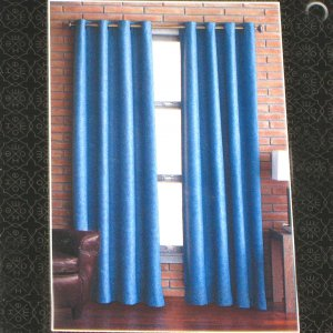 Target Home BLUE BASKETWEAVE  Set of  Four  Window Panels 54 X 84 Grommet Curtains