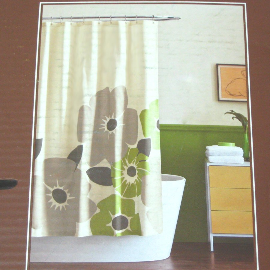 Dwell Studio PANSY GREEN Gray Cream Fabric Shower Curtain Target