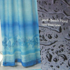 SOUTH BEACH FLORAL Blue Fabric Shower Curtain