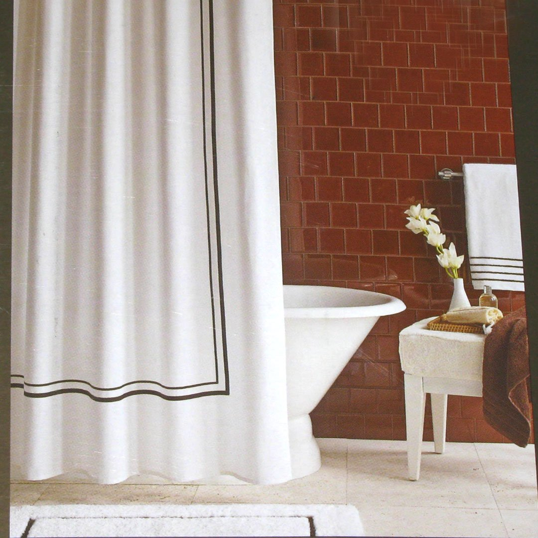 luxury brown border white pique fabric shower curtain target