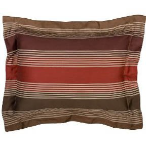 Fieldcrest Luxury Jacquard Stripe 2 Standard SHAMS Red Brown Taupe