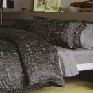 Thomas O'Brien Full/Queen charcoal gray IKAT Duvet Set Vintage Modern 3 pc