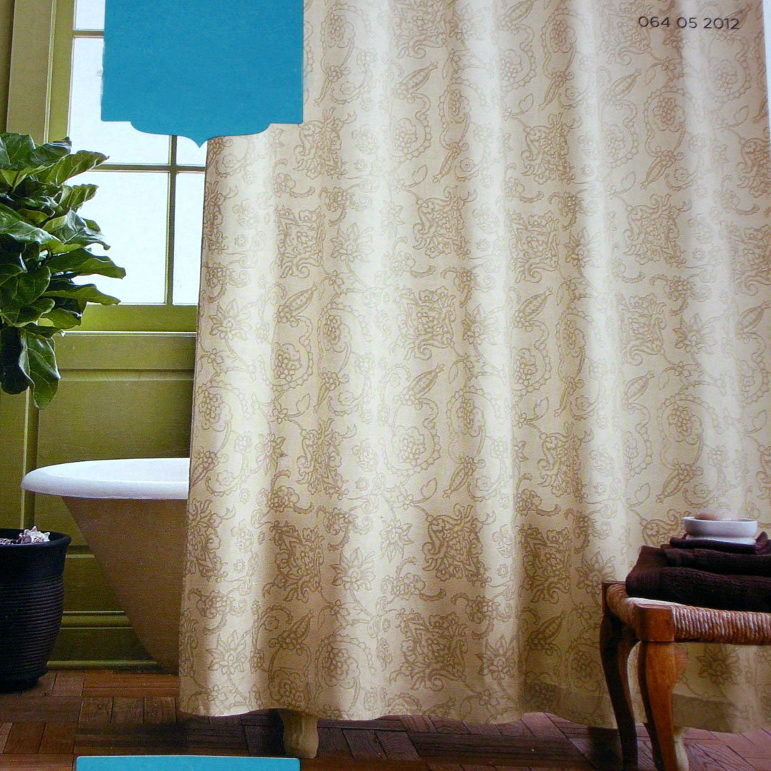 Target Home Tan Scroll Beige Ivory Fabric Shower Curtain