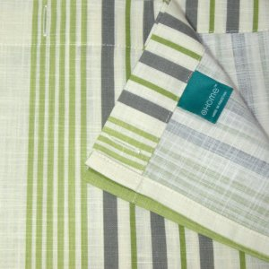 Home GREEN STRIPE Gray Ivory Fabric Shower Curtain