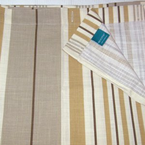 Target Home GOLD STRIPE Khaki Brown Ivory Fabric Shower Curtain