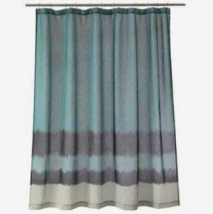 Nate Berkus Dip Dyed Aegean Sea Blue Fabric Shower Curtain Target