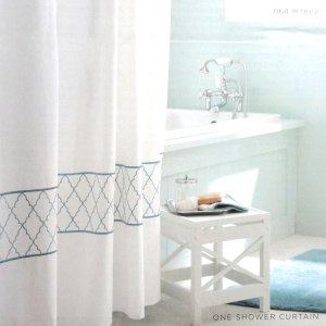 aqua and white shower curtain. target home embroidered ogee fabric shower curtain blue aqua white and l