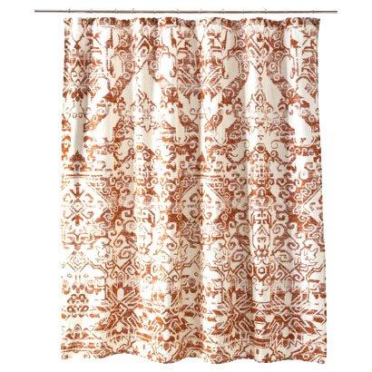 threshold aztec rust fabric shower curtain target