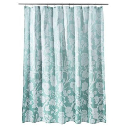 Target Home Blue Ombre Floral Fabric Shower Curtain Aqua