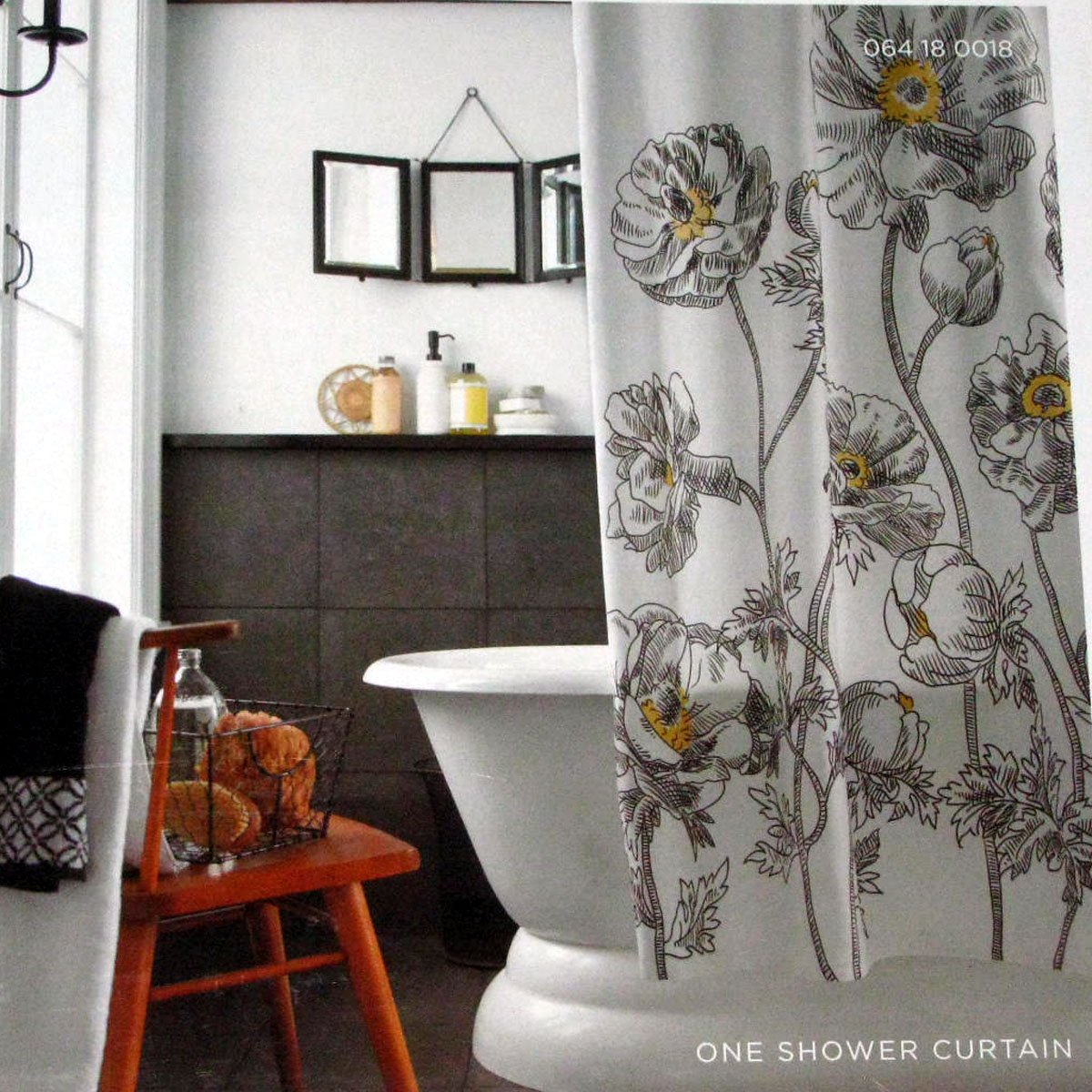 Target Home Yellow Sketch Floral Black White Fabric Shower Curtain