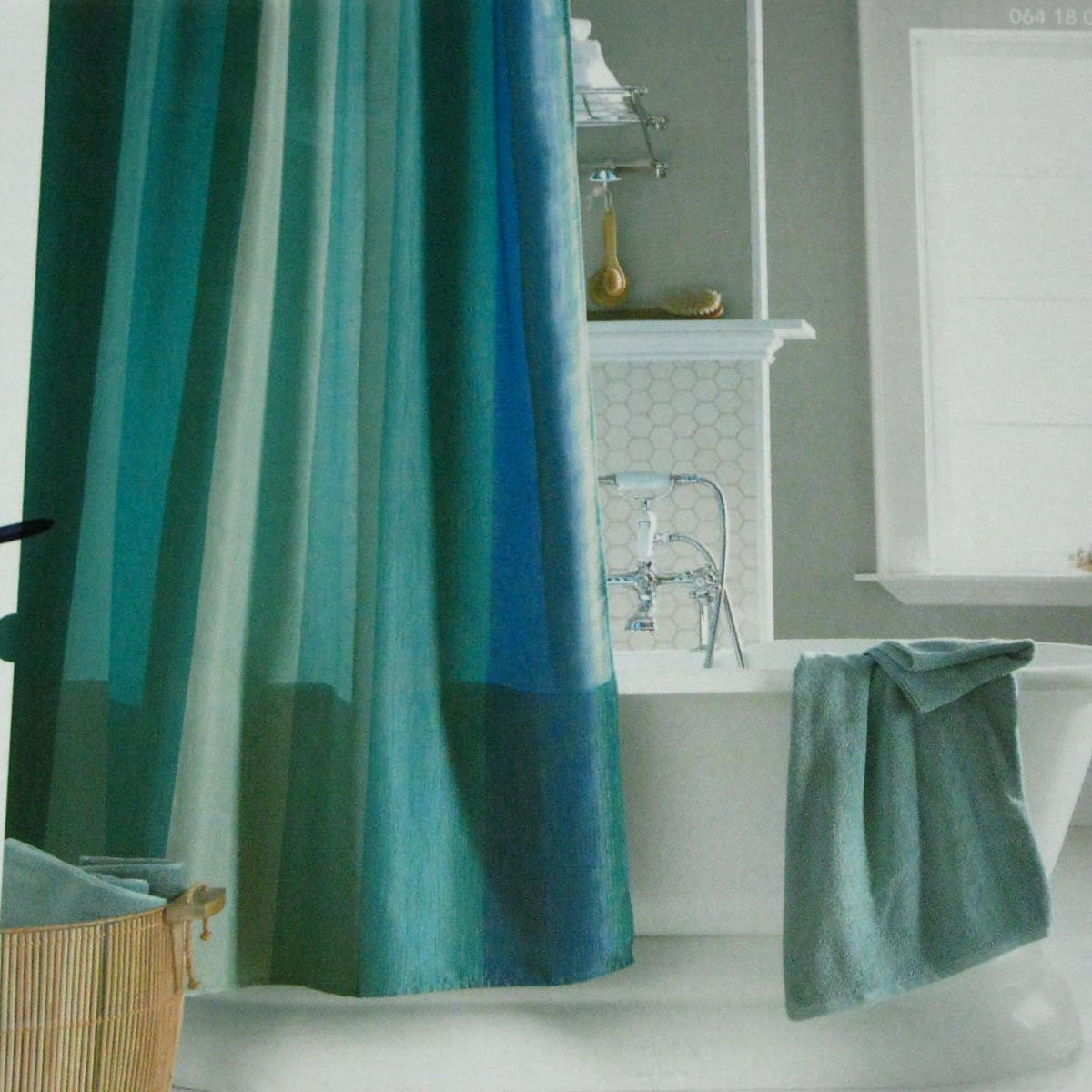 multistripe blue aqua green fabric shower curtain home threshold