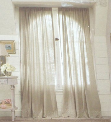 Simply shabby chic embroidered linen gray window panels Shabby chic curtain window