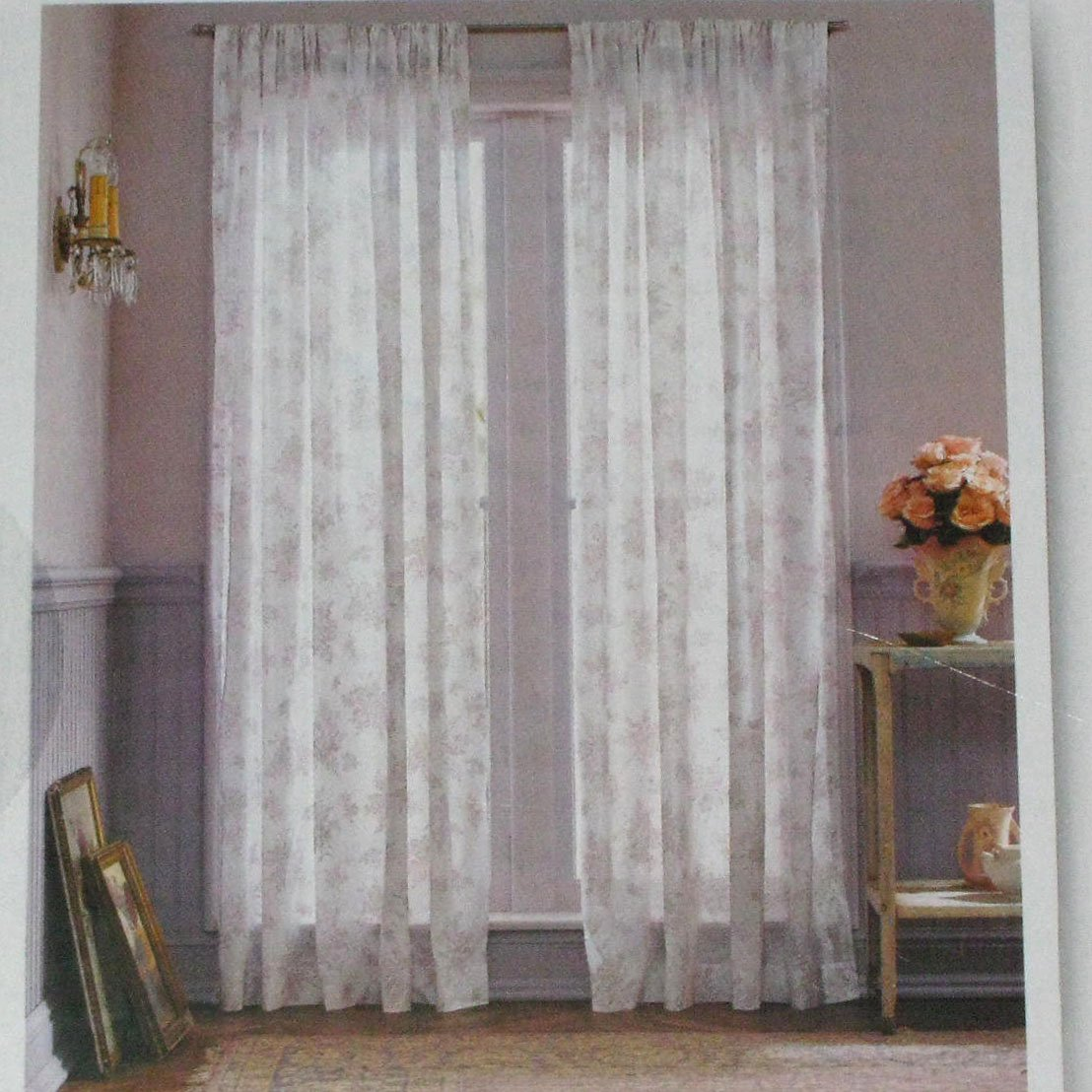 Simply shabby chic white voile lavender floral orchid Shabby chic curtain window