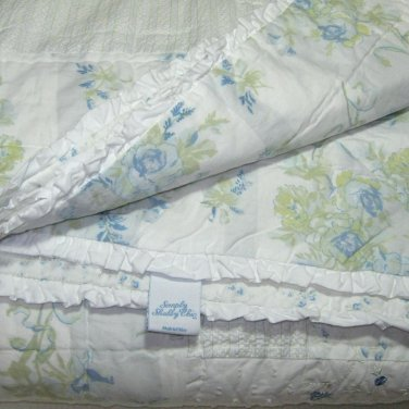 Simply Shabby Chic Blue Patchwork GARDEN STRIPE Twin Set Quilt & Sham Rachel Ashwell Target