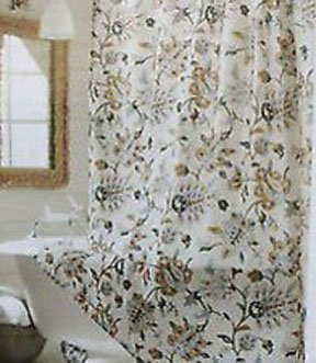 Target Home TAN MULTI JACOBEAN Gold Gray Khaki Brown Fabric Shower Curtain