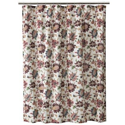 target home spice jacobean brown pink green taupe blue fabric shower curtain. Black Bedroom Furniture Sets. Home Design Ideas
