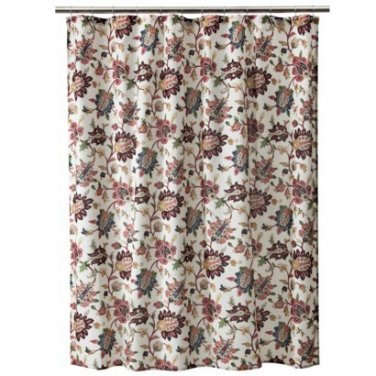 Target Home Spice Jacobean Brown Pink Green Taupe Blue Fabric Shower Curtain