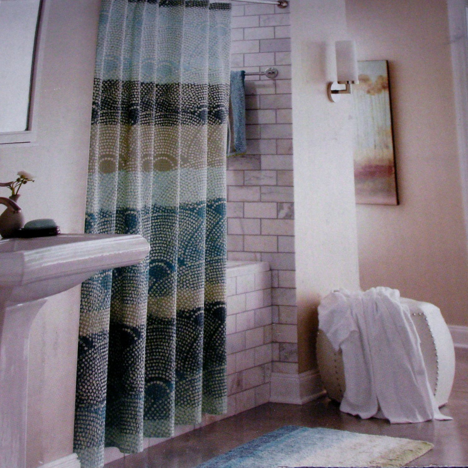 Threshold SCALLOP DOT Cool Seersucker Teal Aqua Gray Fabric Shower Curtain Ta