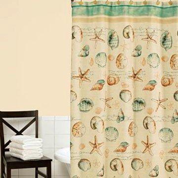 Kohls SEA SPLASH Beach Green Tan Fabric Shower Curtain Home Classics Polyester