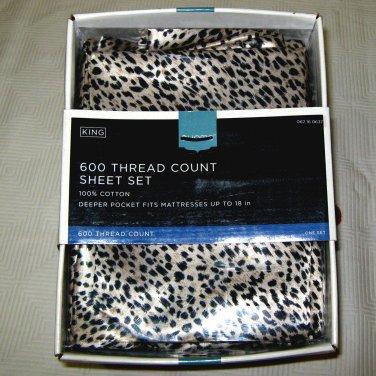 Target Home 600 TC ANIMAL PRINT LEOPARD KING 4-piece Cotton Sheet Set