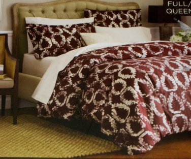 Nate Berkus LAUREL LEAF Full Queen Duvet Cover 3 pc Brown Target