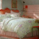 Simply Shabby Chic BRAMBLE ROSE King Duvet 3 pc SET Green Floral
