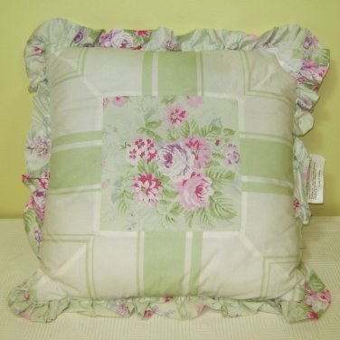 Simply Shabby Chic BRAMBLE ROSE Decorative Throw Pillows Green 16 X 16