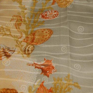 Beach Seashells Sealife Cream Blue Fabric Shower Curtain