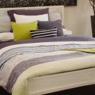 USED Lacoste AVENTIN FOLKSTONE OASIS Full Queen Duvet Cover 3 pc BLUE STRIPE