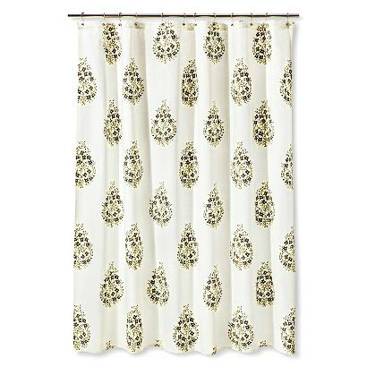 Threshold Paisley Gray Stone Taupe Fabric Shower Curtain
