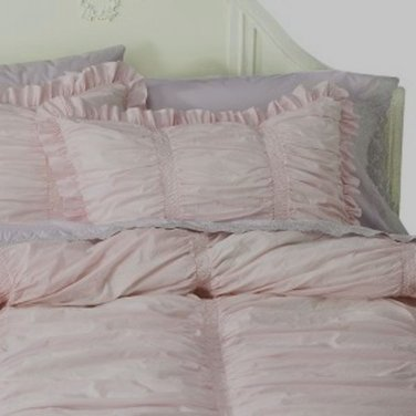 ONE Simply Shabby Chic Sham RUCHED Pink Standard