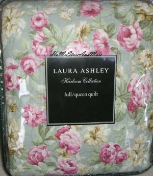 Laura Ashley Shabby Cottage Rose Full/Queen Quilt Sham Set 3pc New