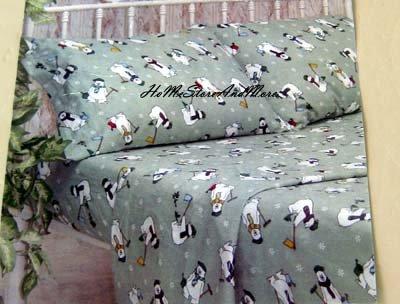 Alpine Collection Polar Bears Twin Flannel Sheet Set New