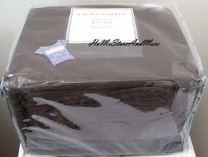 Laura Ashley Seaview Jersey Knit Solid Color Dark Chocalate Brown King Sheet Set New