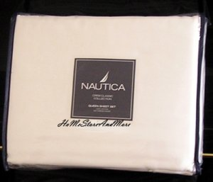 Nautica Crew Classic White Queen sheet set 4pc 300TCNew