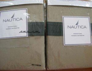 Nautica Colorblock Hedge Green/Sand Window Panels Curtain Drape New