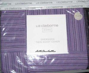 Liz Claiborn Strie Grape Purple Twin Duvet Sham set New