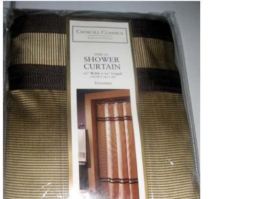 CROSCILL EDEN II Gold Brown Shower Curtain New