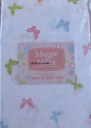 Girls Butterfly Butterflies Twin Sheet Set Sateen 310TC New