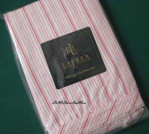 Ralph Lauren Summer Cottage Pink Ticking King pillowcase new