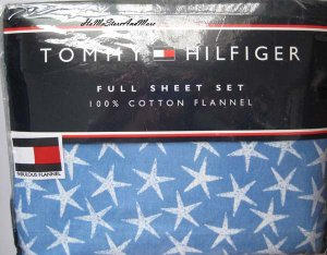 Tommy Hilfiger LAGUNA BAY STARS Queen Flannel Sheet Set New
