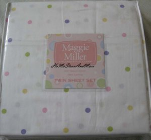 Maggie Miller Polka Dots Twin Sheet Set Cotton 310 thread count New