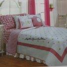 Girls Pink Polka Dots Daisy Twin Quilt Standard Pillow Sheet Sham Set 5 pc New