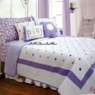 Girls Lavender Polka Dots Daisy Twin Quilt Standard Pillow Sheet Sham Set 5 pc New