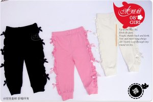 H80465 White, Pink, Black Pants Size 3