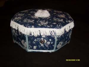"Hand-made Blue Flower  Keepsake Sewing or Jewelry Box 6"" tall / 11"" wide"