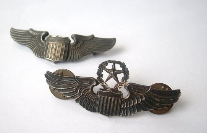 Set of Original WWII Sterling Pilot & Command Pilot Wings