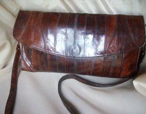 beautiful dark brown genuine eel skin handbag / clutch purse