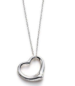 925 sterling silver single heart design necklace 18""