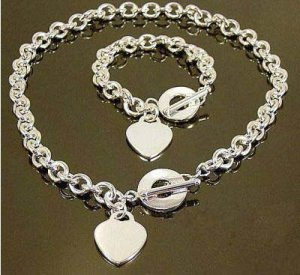 925 Sterling Silver Pretty Heart Tag Necklace&Bracelet